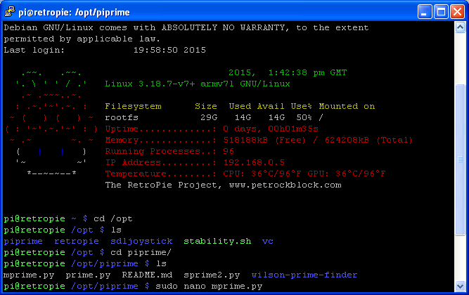 Raspbian Command Line - Launching Nano to edit new file 'mprime.py'