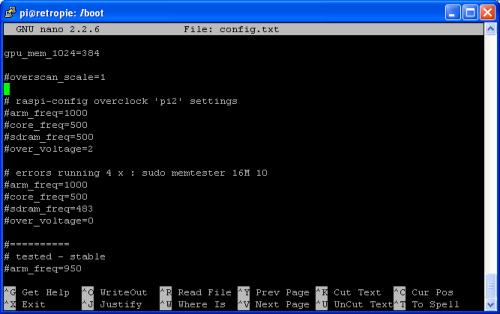 Raspbian Command Line - Config.txt in Nano editor