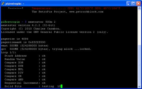 Raspbian - Running Memtester memory test tool