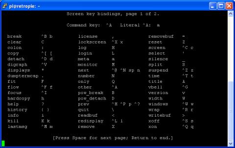 Raspbian Command Line - Using Screen - Help page