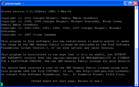 Raspbian Command Line - Using Screen - Initial page