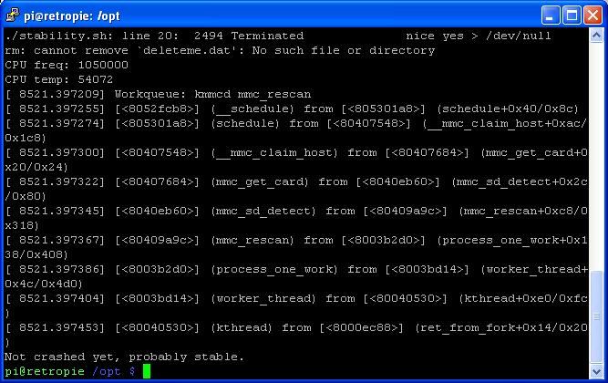 Raspbian Command Line - Stability.sh script completed run