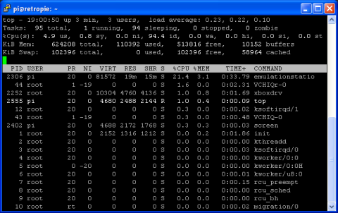 Raspbian Command Line - Using Top - Process Stats