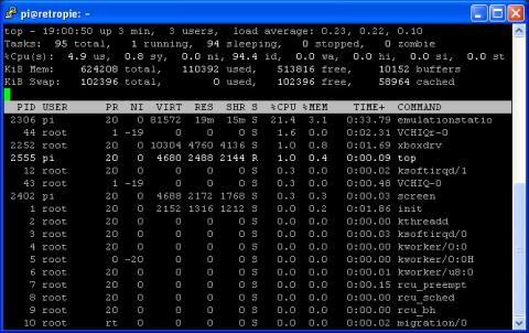Raspbian Command Line - Using Top - Process Stats