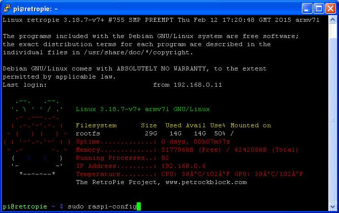 Raspbian Command Line - Launching Raspi-Config Utility