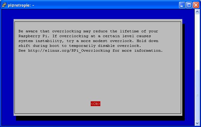 Raspi-Config Utility - Overclock tool - Warning