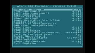 Atari 8-bit Emulator (Atari800) Native Options Menu