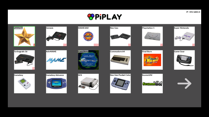 PiPlay Emulator Selection Menu