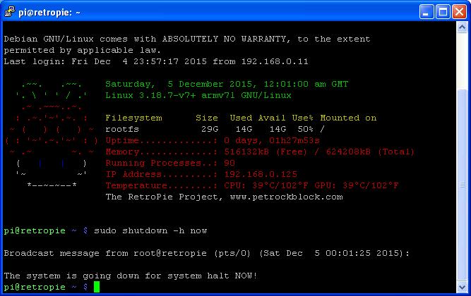 Raspbian Command Line - Shutdown commencing