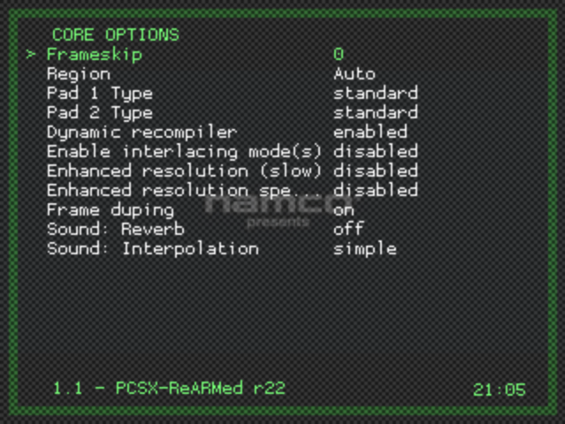 Libretro Menu - Core Options Sub Menu