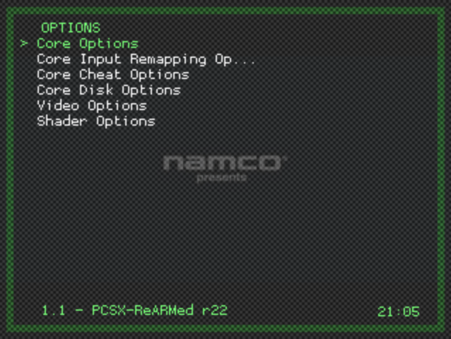 Libretro Menu - Options Menu - Core Options Selected