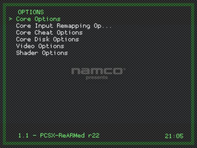 Libretro Menu - Options Menu - Core Options Selected