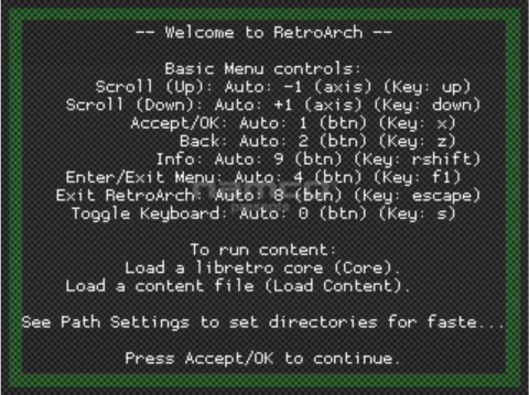 RetroArch Menu - Welcome Screen