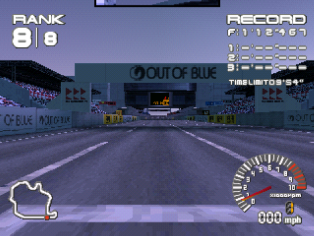 PlayStation. Ridge Racer Type 4. Out of Blue. Standard Resolution, Bilinear Smoothing