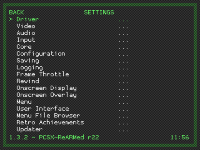 Libretro Menu - Settings Sub-menu - RetroPie 3.6