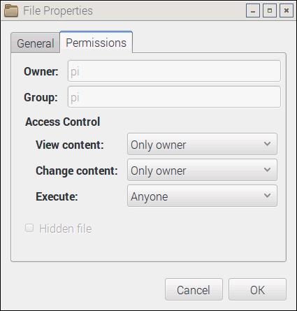 Raspbian File Manager - Properties Menu - Permissions Tab