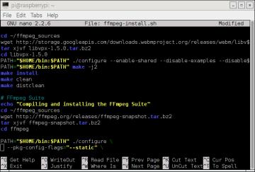 FFmpeg Install Script - Nano Editor