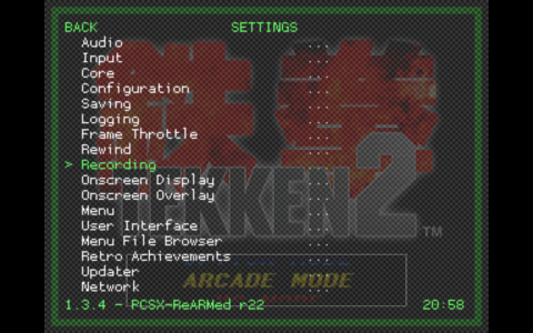 RetroArch Menu - Settings Sub Menu - Recording Option