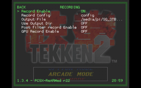 RetroArch Menu - Settings Sub Menu - Recording Sub Menu